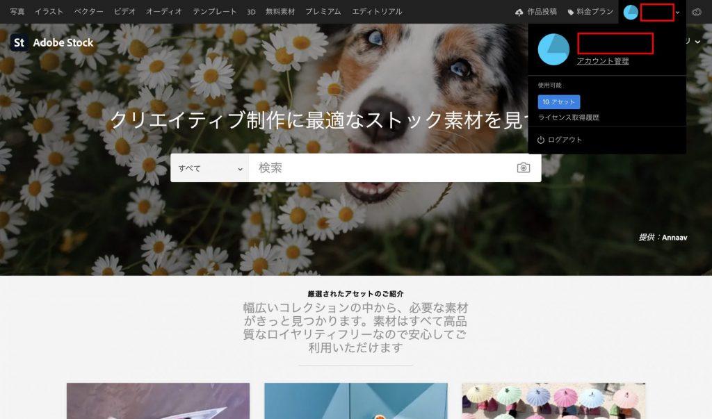Adobe Stockのユーザー登録完了画面