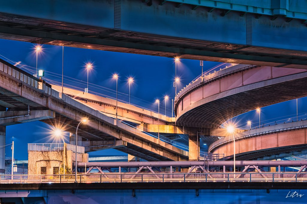 小菅ジャンクションの夜景